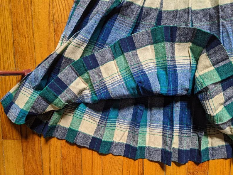 Penn Skirt  Vintage 1950/'s Shades of Blue Aqua /& White Iconic Pendleton Turnabout Plaid Pleated Reversible High Waist Skirt XS
