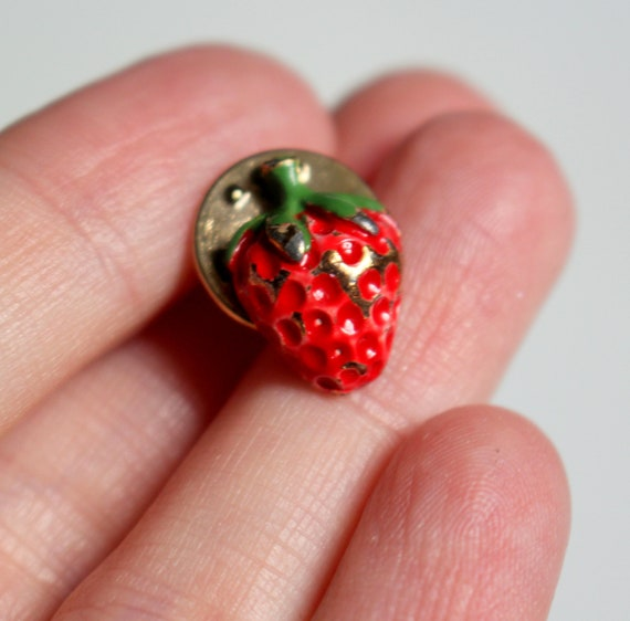 Strawberry Pin // Vintage TINY Adorable Painted Go