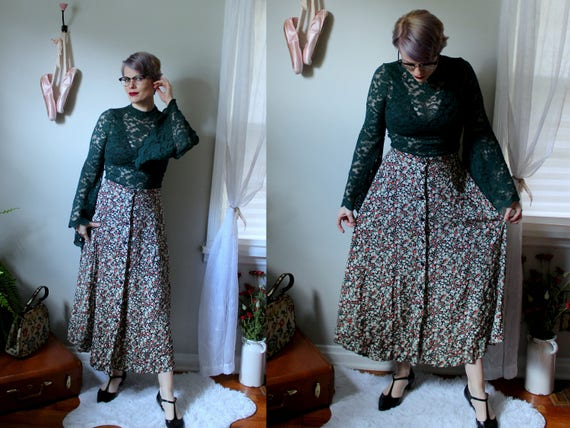 Every Swish Way Floral Midi Skirt Button Front Black Rayon Etsy