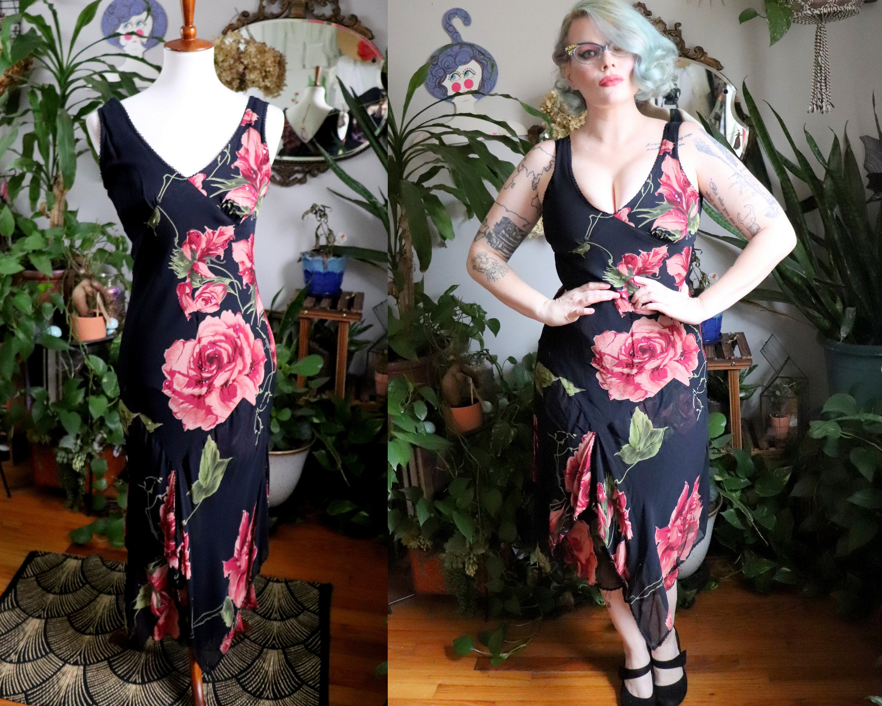 Vintage Scarf Styles -1920s to 1960s Brandy Dress  Vintage 1990s Does 1930s Style Black Rayon Chiffon Bias Cut Gown With Lovely Beaded Pink Rose Print  Scarf Hem Xs $0.00 AT vintagedancer.com