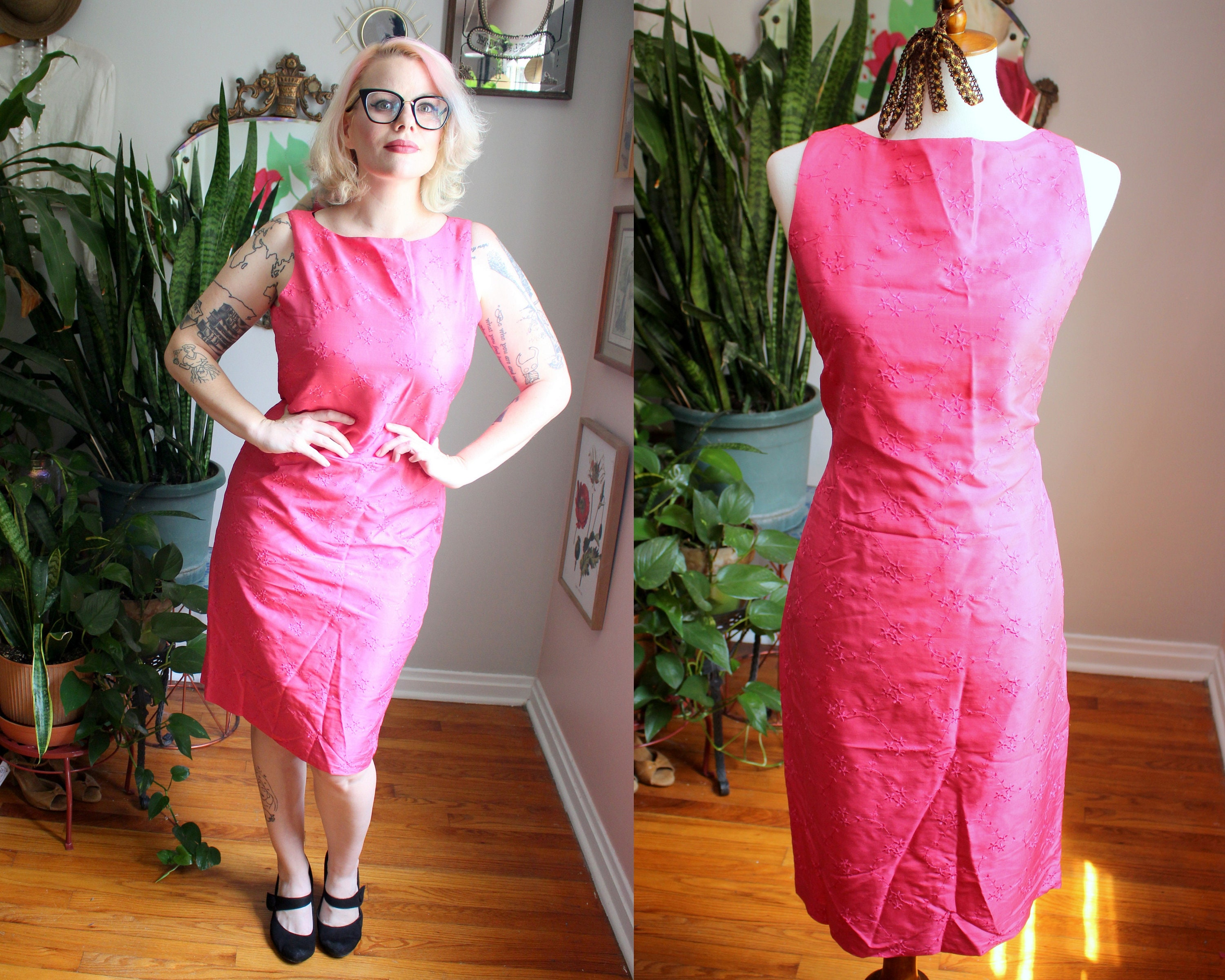 80s Dresses   Casual to Party Dresses Taryn Dress  Vintage 1980s - 1990s Bubblegum Pink Pure Silk Sheath With Floral Embroidery By Evan-Picone M-L $0.00 AT vintagedancer.com