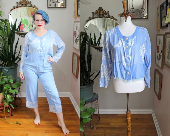 Alexis Set // Vintage 1980's does 1920's Rayon Blu
