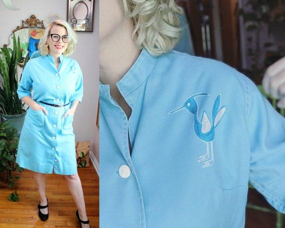 Novis Dress // Vintage 1960's Baby Blue Cotton Coa