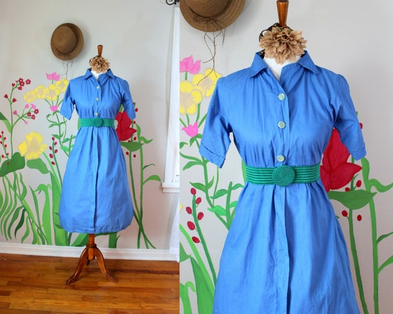 Vintage 1940's Blue Dress // Handmade Button Bodic