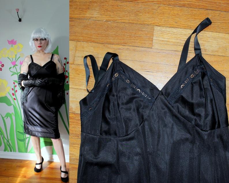 c96fdf02da5c7 Alice Slip // Vintage Kayser Black Nylon Dress Slip with Lace | Etsy