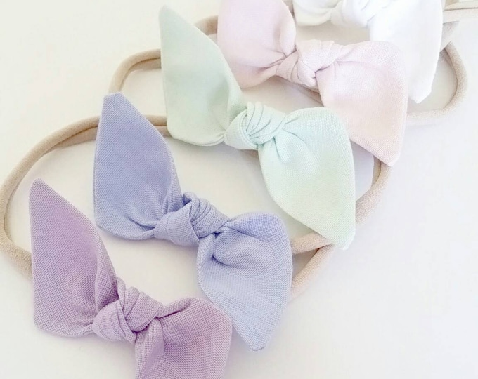 Featured listing image: Baby headbands. Bitsy knot bow set {Pastel Rainbow}