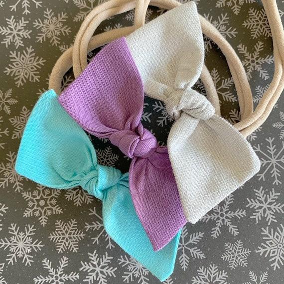 Baby Headbands Set- newborn headband- baby bows- hair clip {Elsa}