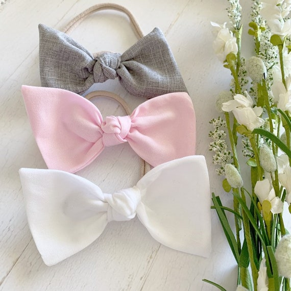 Large knot bow headband set {Ella} big girl hair bows - hair bow clips - baby girl clothes - newborn headbands