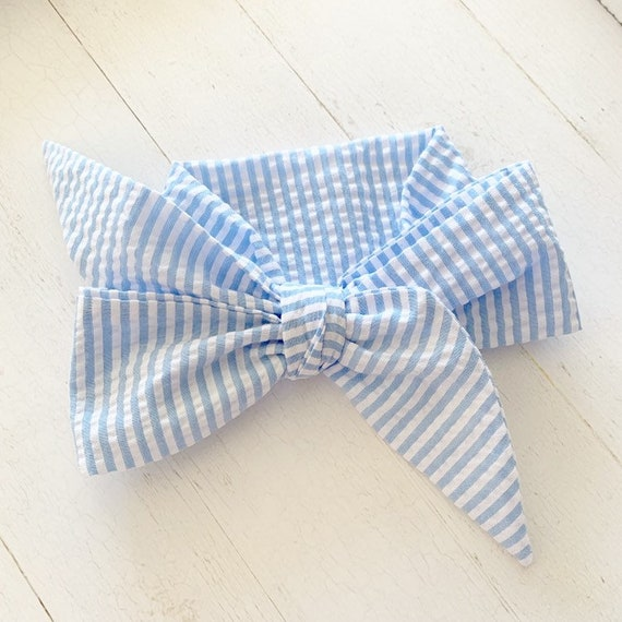 Baby head wrap bow- big bows- baby headbands- newborn headbands- toddler bows {Blue Seersucker}