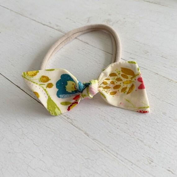 Baby bow headband {Whimsy Garden} newborn hair bows, nylon headbands, baby girl bows