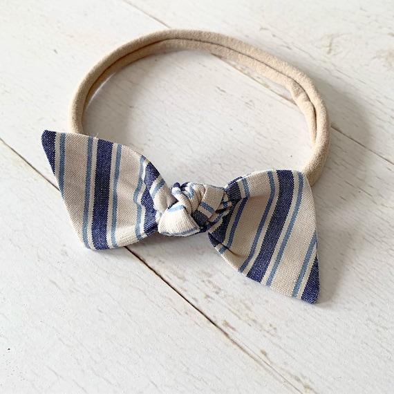Baby girl nylon headbands {Chambray Stripes} hair bows