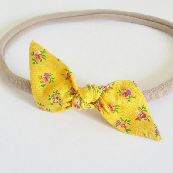 Baby headband- nylon headbands- newborn bows- hair clip {Honey Rosette}