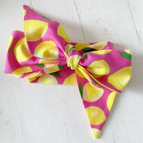 Headwrap bow {Pink Lemonade} baby girl headbands - baby clothing - pink hair bows - newborn headbands