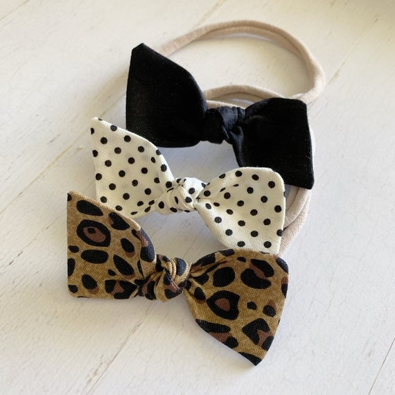 Baby headbands, Bitsy knot bow set {Cheetah} black bows, newborn headbands, hair bows, nylon headbands