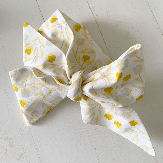 Baby bow headwrap {Mustard Tulip} baby hair bows - newborn headbands - baby girl clothing