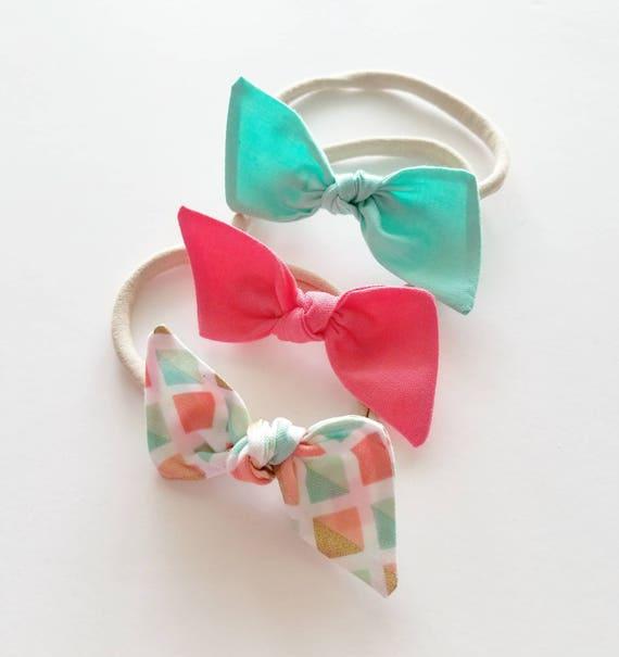 Nylon headband set {Sherbet} baby bows, fabric bows
