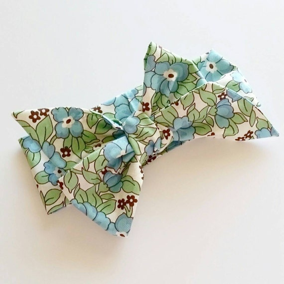 Head wrap { Blue Pansy } baby bows, fabric bows, handmade bows, hair accessories
