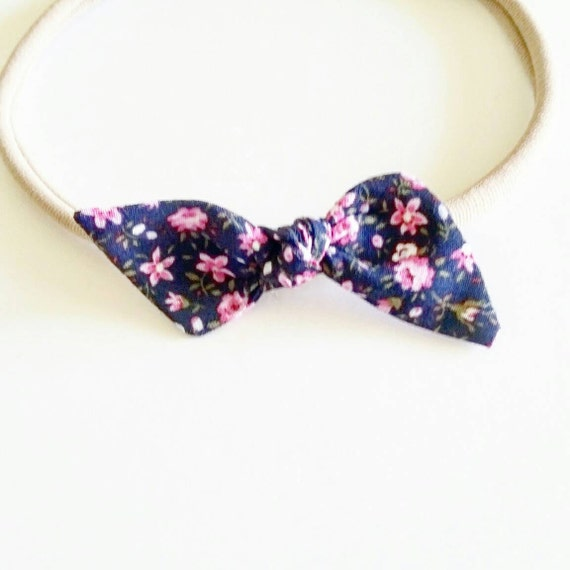 Bitsy knot bow {Pink on Navy} Nylon head bands, baby bows