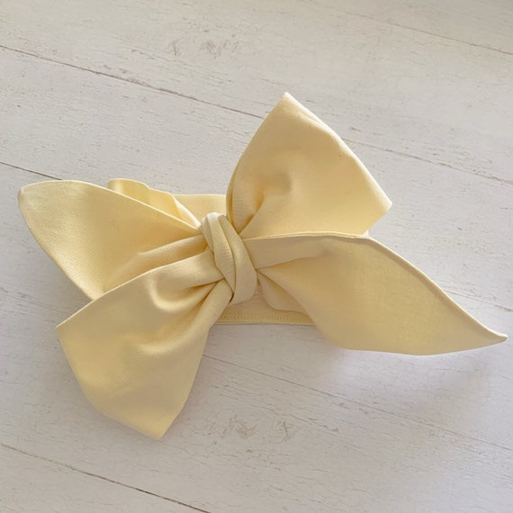 Head wrap baby bow {Buttercream} newborn headbands - baby girl clothing - hair bows