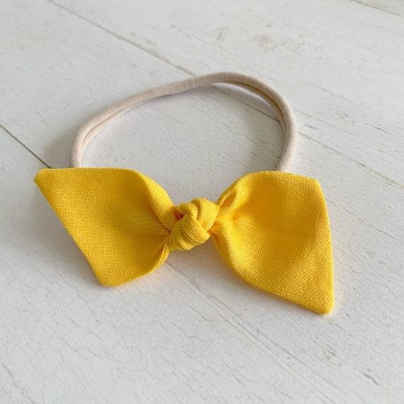 Baby bow headbands {Sunshine Yellow} newborn headbands, baby hair bows