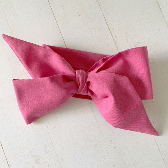 Headwrap bow {Dusty Rose} baby girl hair bows - newborn bows - pink hair bows