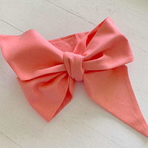 Baby headwrap bow {Coral} baby hair bows - newborn headbands - baby girl clothing - baby accessories