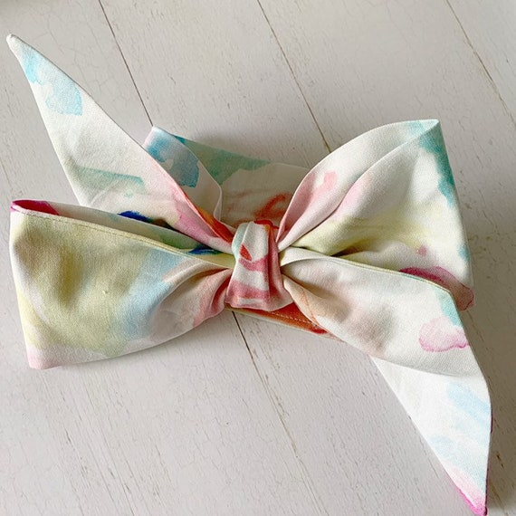 Baby bow headwrap {Watercolor} newborn headbands - baby girl clothing - baby hair bows