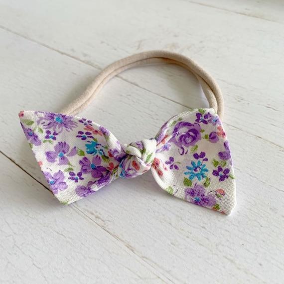 Baby girl headband bow {Purple Rose} baby hair bows, nylon headbands