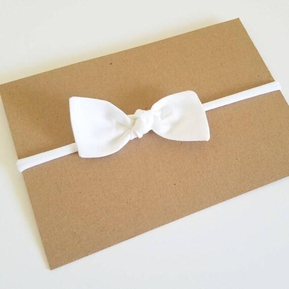 Baby nylon headband, bitsy knot bow, {White on White}