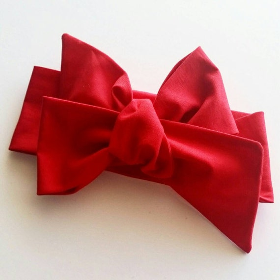 Head wrap {Cherry} baby hair bows - newborn headbands - red bows - baby girl clothing
