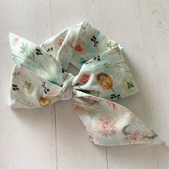 Baby bow headwrap {Desert Floral} baby girl headbands, newborn bows, baby girl clothes, baby shower gifts