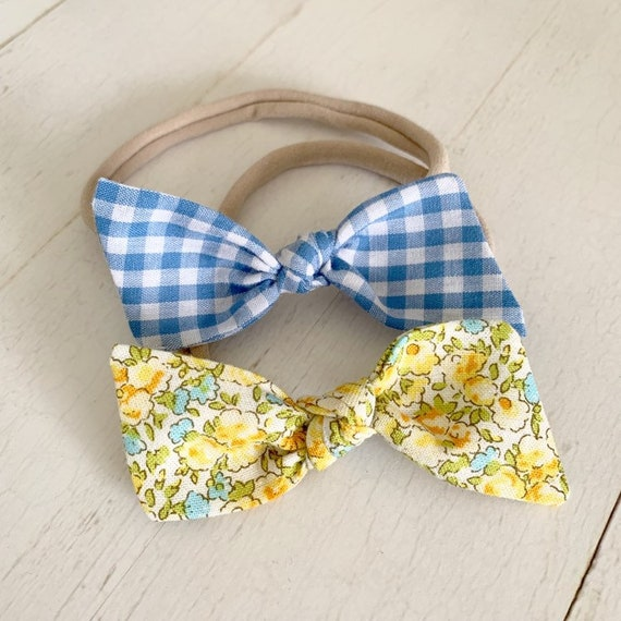 Baby bow headband set {Lemon Floral} baby gifts, newborn headbands, baby girl bows