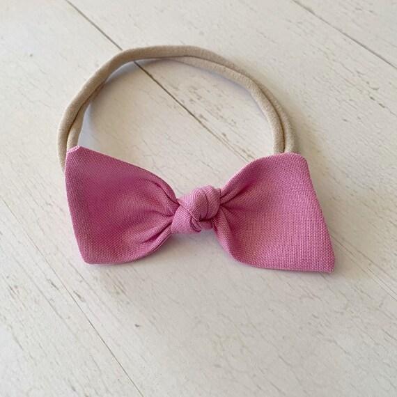 Nylon baby headband {Orchid} bitsy knot bow, baby hair bows