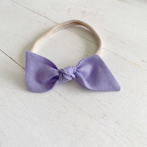 Baby bow headband {Dark Lavender} baby hair bows, newborn, nylon headbands