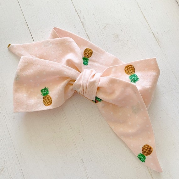 Baby bow head wrap- baby headbands- big bows- toddler bows {Pineapple on Pink}