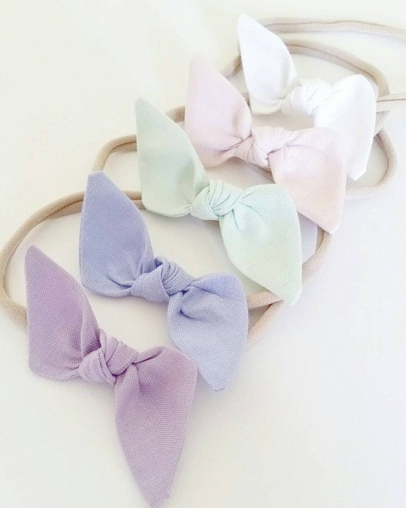 Baby headbands. Bitsy knot bow set {Pastel Rainbow}