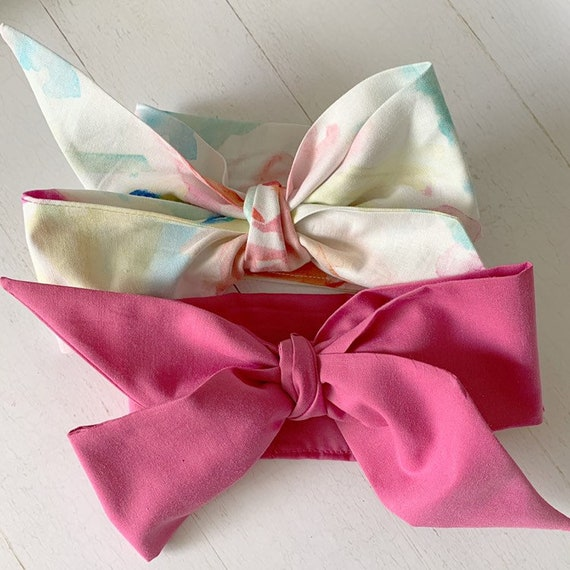 Headwraps bow set {Watercolor} newborn headbands - baby hair bows turbans - baby girl clothing