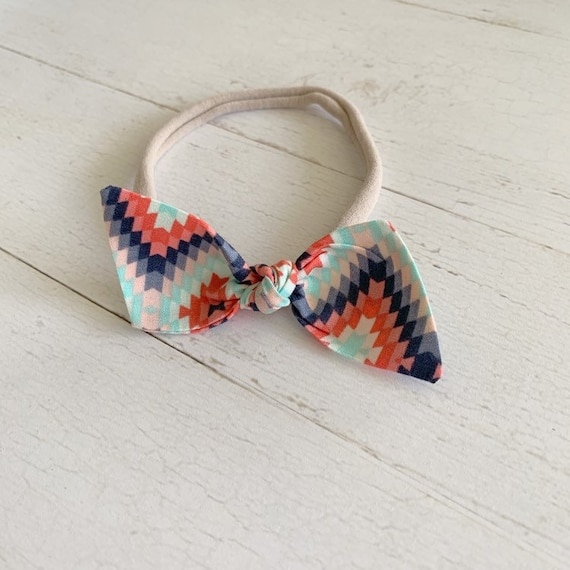 Bitsy knot hair bow {Aztec} nylon headbands, baby bows