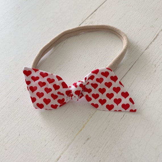 Baby Headband- newborn headbands- baby bows- hair clip- valentine bow {Hearts}