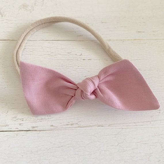 Baby headband bow- newborn headbands- baby girl hair bows- hair clips- pink hair bows {Champagne Pink}