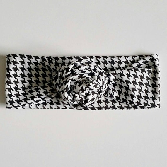 Black & white houndstooth headwrap, houndstooth bows, baby bows, baby headbands