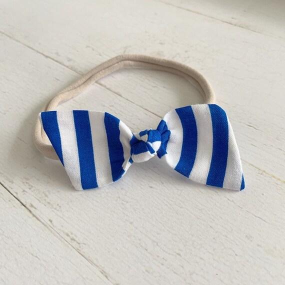 Baby girl headband bow {Blueberry Stripes} baby hair bows, nylon headbands