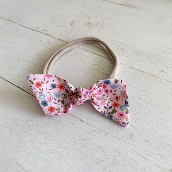 Bitsy knot bow {Sadie} nylon headbands, baby bows