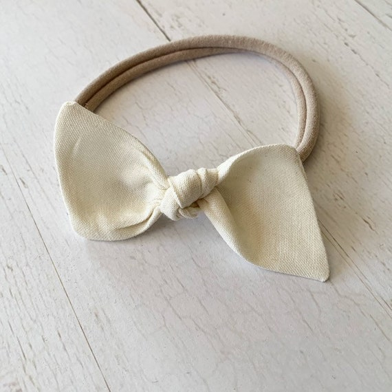 Baby headband {Cream} nylon headband, baby bows, bitsy knot bow