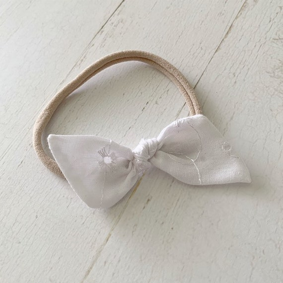Baby bow nylon headband {White Ila} baby girl hair bows, hair clips, baptism bow, christening bow, blessing bow