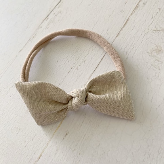 Nylon headband hair bow {Goldie Shimmer} newborn headbands - baby girl clothes - gold hair bows - hair bow clips