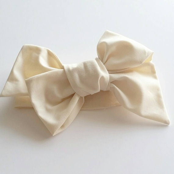 Headwrap, baby bows, hair accessories, baby headwraps, cream bows, handmade bows {Ivory}