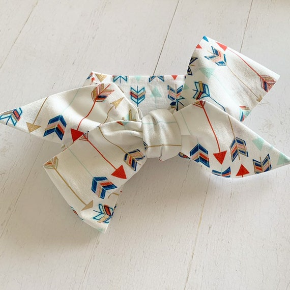 Headwrap bow- big bows- baby headbands- mommy and me bows {Arrows on White}