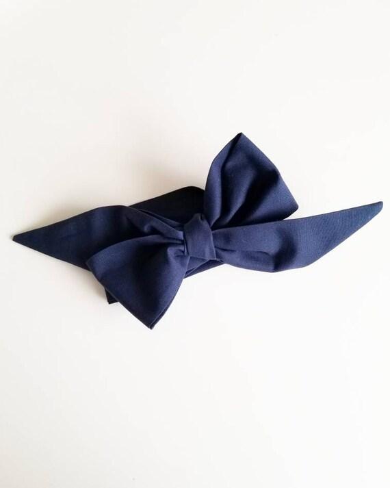 Head wrap bow {Navy}