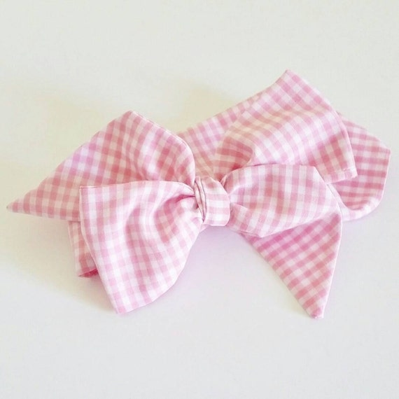 Head wrap {Pink Gingham} baby hair bows, newborn photography props, baby girl clothes